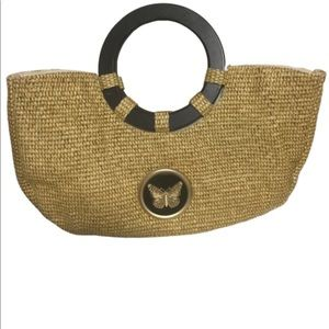 Braciano vintage straw butterfly bag wooden handle